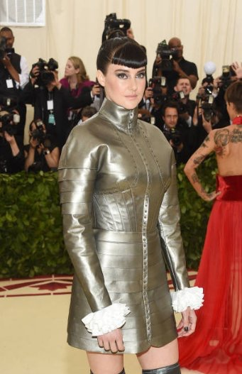 Shailene Woodley makes a nod to Joan of Arc on the red carpet at the 2018 met gala in a silver armoured tunic